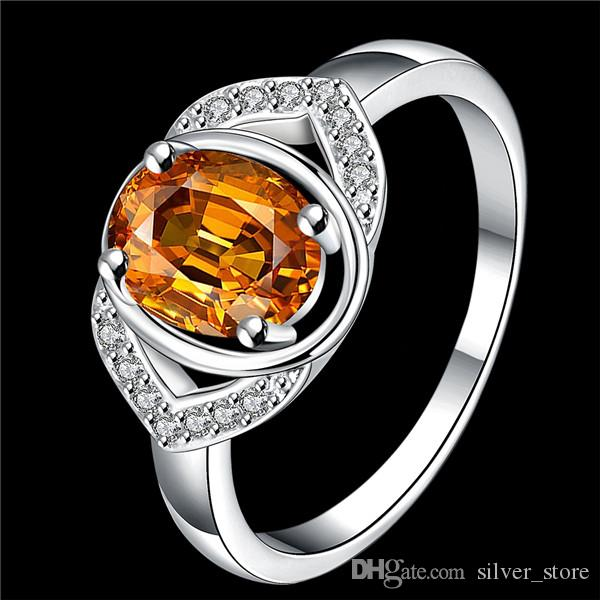 Meilleur cadeau Full Diamond Double bague avec pierre de mode 925 bague en argent STPR021D marque nouvelle pierre blanche bague en argent sterling anneaux doigt