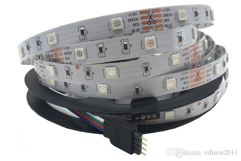 Edison2011 5M / kilts 10m / Kits Flexibles SMD 5050 RGB LIGHT LUMIÈRE 12V 150LÉDS ÉTAPILE SUPPÉRATURE 30LÉS / M avec contrôleur et adaptateur 3A