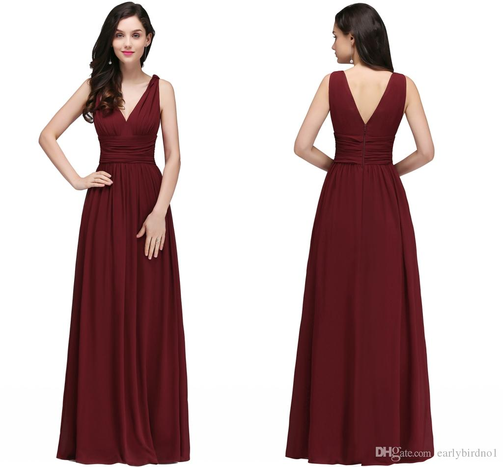 2018 new designer burgundy v neck long bridesmaid dresses a line cheap wedding guests gowns floor length maid of honor gowns cps723 bridesmaids dresses designer design bridesmaid dress online from earlybirdno1 ombrellifo Gallery