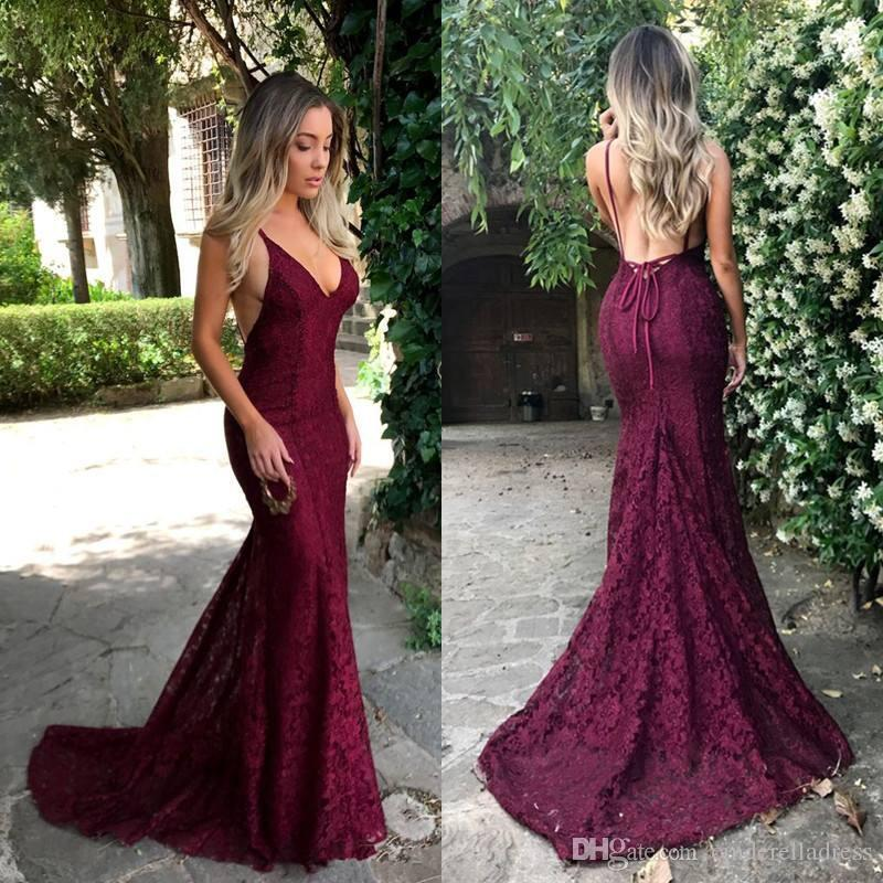 14fd5547e7f 2018 Dark Red Cut Away Side Backless Sexy Prom Dresses Spaghetti Straps  Lace V Neck Mermaid Evening Gowns For Party Vestidos Prom Dress Long Prom  Dress Plus ...