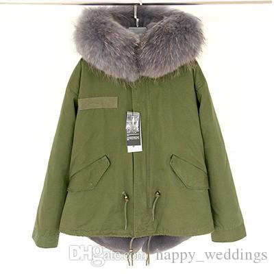 happy_weddings in stock New Women Winter Army Green Jacket Coats Thick Parkas Plus Size Real Raccoon Fur Collar Hooded Outwear