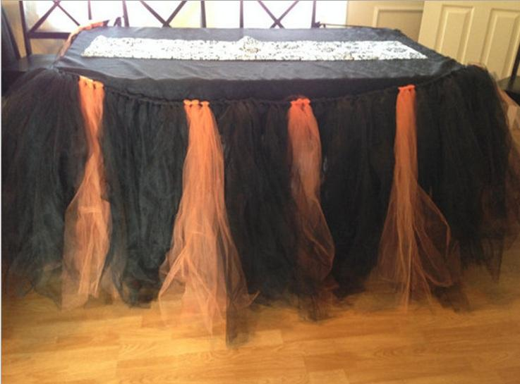 1yd Tulle Table Skirt Table Cover Cloth Skirting for Halloween Christmas Party Birthday Cake Table Party Decor Tutu Skirt