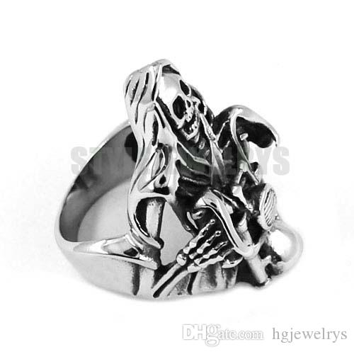 ! Grim Reaper Skull Ride Motorcycle Ring Stainless Steel Jewelry Vintage Skull Motor Biker Men Ring SWR0446 B