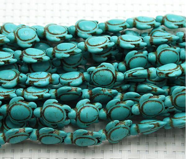 New Hot 7 stands Vintage Oval Blue Howlite Turquoise Carved Turtle Spacer Beads 14mm x 14mm G6322 jewelry making DIY
