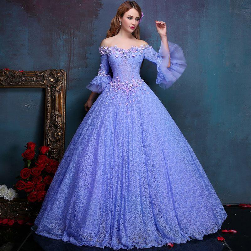 Vintage Violets Full Lace Prom Dresses Ball Gowns Off Shoulder ...