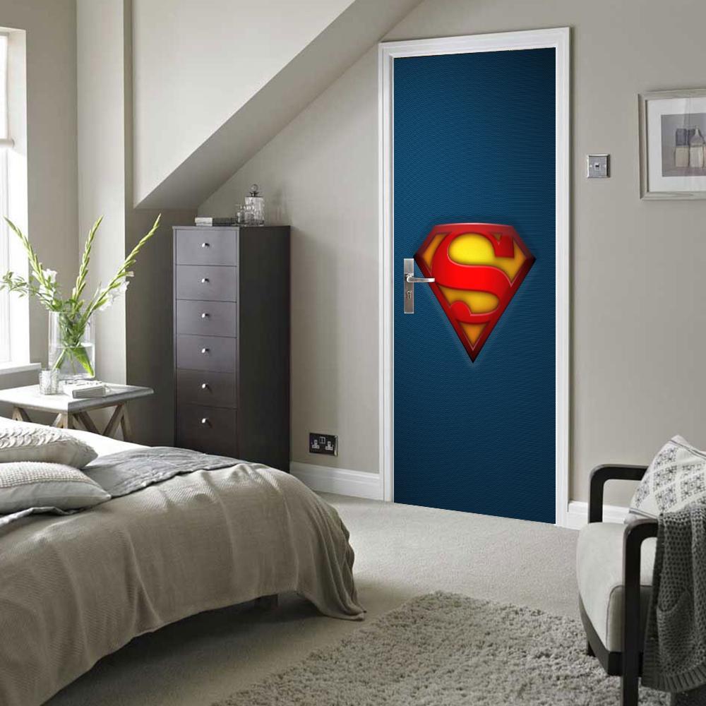 Superman Sign Door Wall Stickers DIY Mural Bedroom Home Decor ...