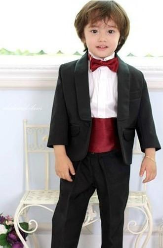 Un bouton à la mode enfant concepteur complet châle col garçon costume de mariage tenue de garçons sur mesure veste + pantalon + cravate