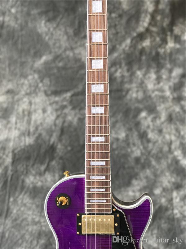 In Stock- Chitarra elettrica personalizzata con piano in acero Flame di colore viola, tutti i colori sono disponibili, guitarra di alta qualità
