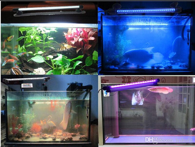 18cm LED Aquarium Lumière 7.08inch Fish Tank Lumières Sous-Marines Éclairage IP68 Étanche Bleu Blanc Bar Lampara avec Power Adapter CE ROSH