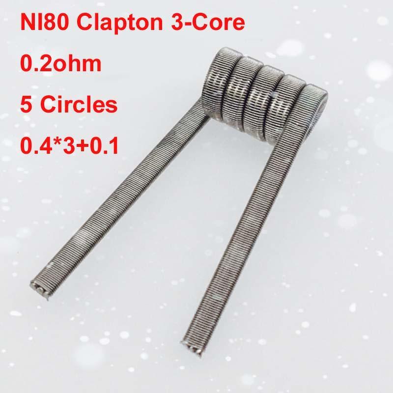 Ni80 Clapton 3 Core Premade Coil 0.2ohm Nichrome 80 Wire 0.4*3+0.1 ...