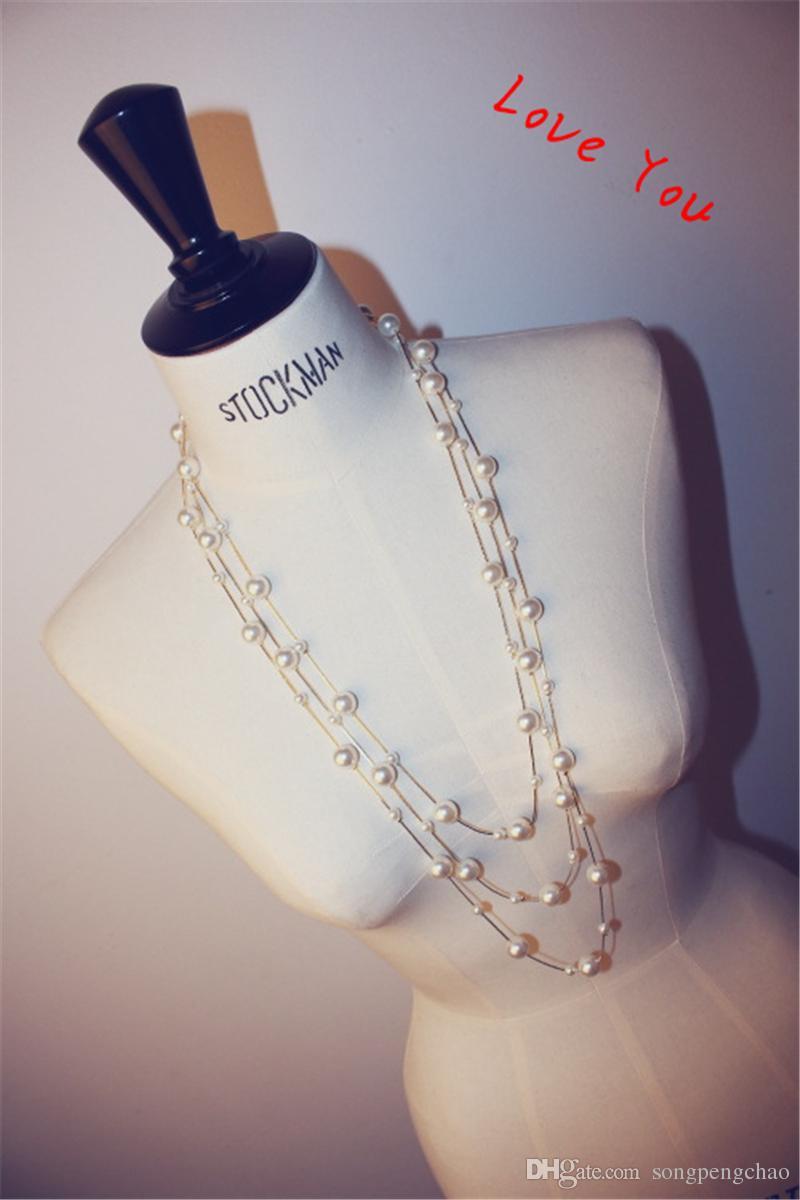Multilayer collier de perles coréenne Marque Designer longue Neckalce pour les femmes Pull Bijoux