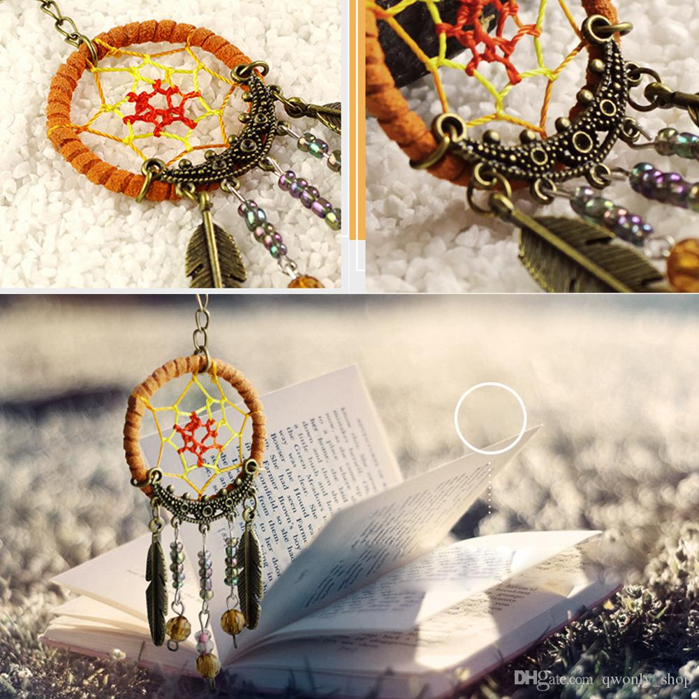 2X Unique Key Chain Ring Feather Bead Dream Catcher Keyring Keychain Handmade Dreamcatcher Car Pendant Ornament Gift