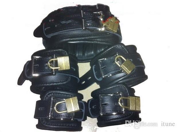 مجموعة عالية الجودة من الجلد الحقيقي طوق أصفاد خلخال للالمعصم الكاحل الساق الكفات القيود مع قفل الجنس لعب الكبار BDSM عبودية