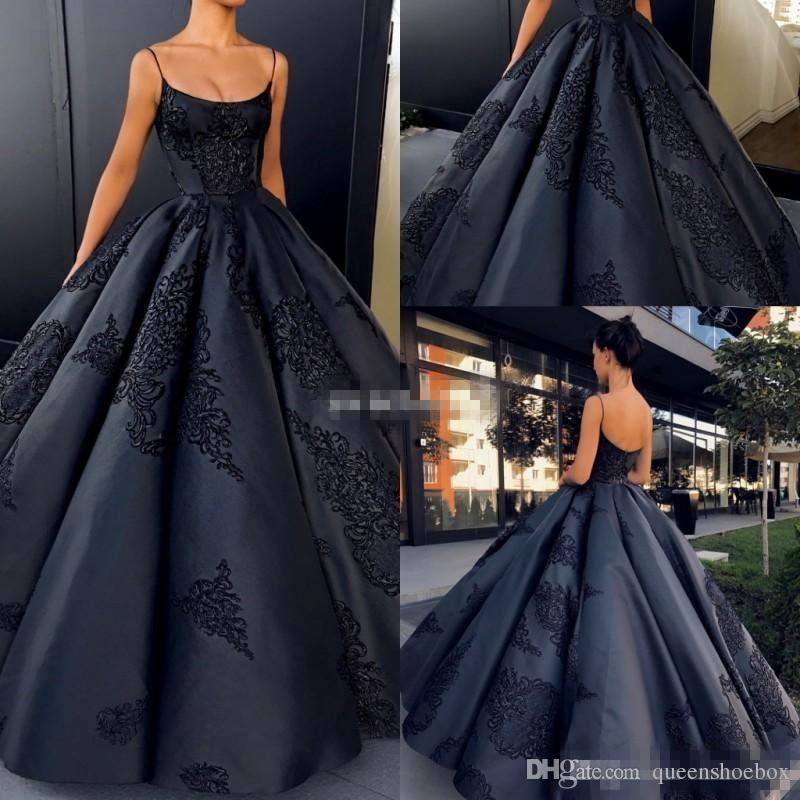 9a562e5fdd5 Simple Sexy Black 2018 Ball Gown Evening Dresses Spaghetti Sleeveless  Backless Empire Satin Lace Appliqued Floor Length Prom Party Gowns Evening  Dresses ...
