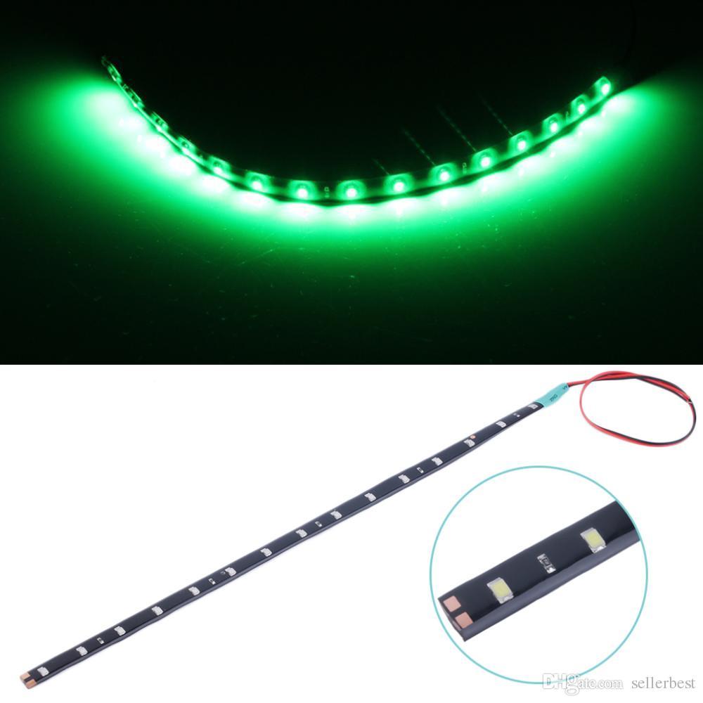 Tira de LED resistente al agua de 15LED / 30cm Tiras de coche LED flexibles de alta potencia 3528 12V DC SMD, blanco / azul / rojo / verde / amarillo