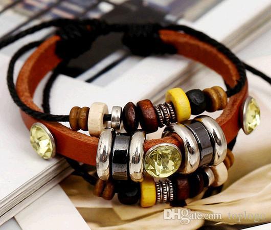 Hombres mujeres hechas a mano Pulseras de cuero de cuerda Retro pulsera tejida a mano al por mayor para hombres Pulsera trenzada pulsera masculina de la joyería
