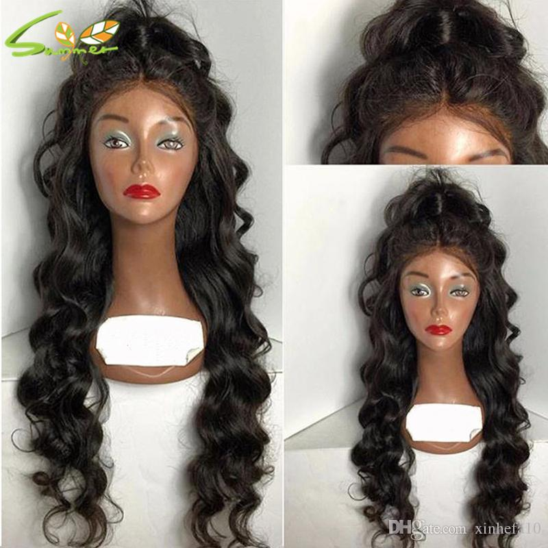 2016 Body Wave Glueless Full Lace Wig / Lace Front Wig Brazilian Virgin Hair With Baby Hair Middle Part Wig For Black Women