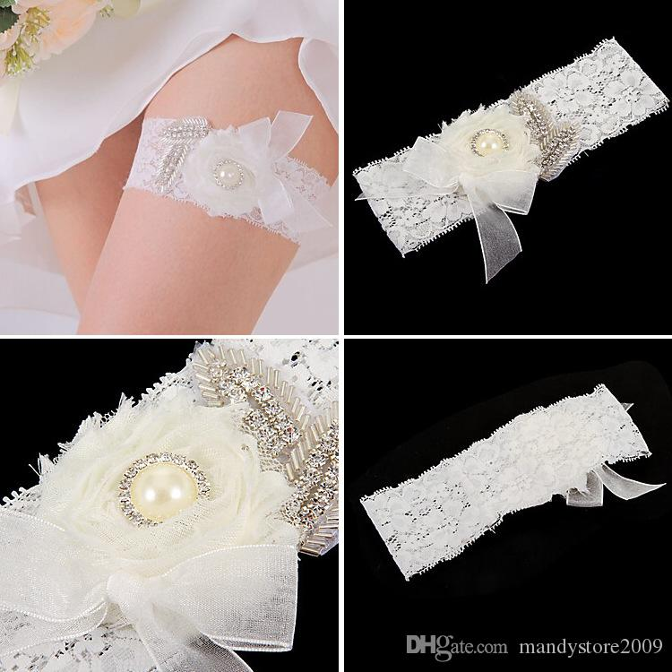 Lace Bridal Garters 8 Design For Choose 2015 Cheap Sexy with Crystal Beads Wedding Leg Garters Bridal Accessories TYC005