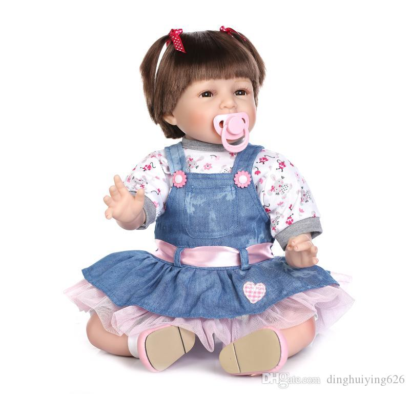 """22"""" Light Blue Jeans Gentle Touched Vinyl Reborn Toddler Doll Girls Birthday Gift Doll Reborn Dolls with Hand Rooted Hair"""