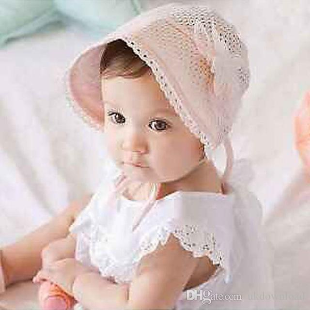 1adc9dea444 2019 Sweet Lovely Cute Princess Children Kids Girls Baby Hat Beanie Pink  New Lace Floral Caps From Ukdownload