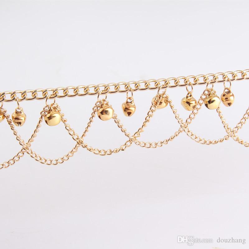 Fashion Women Hot Multi Chain Bells Tassel Anklet Ankle Bracelet Foot Jewelry Barefoot Beach Anklets Wholesale