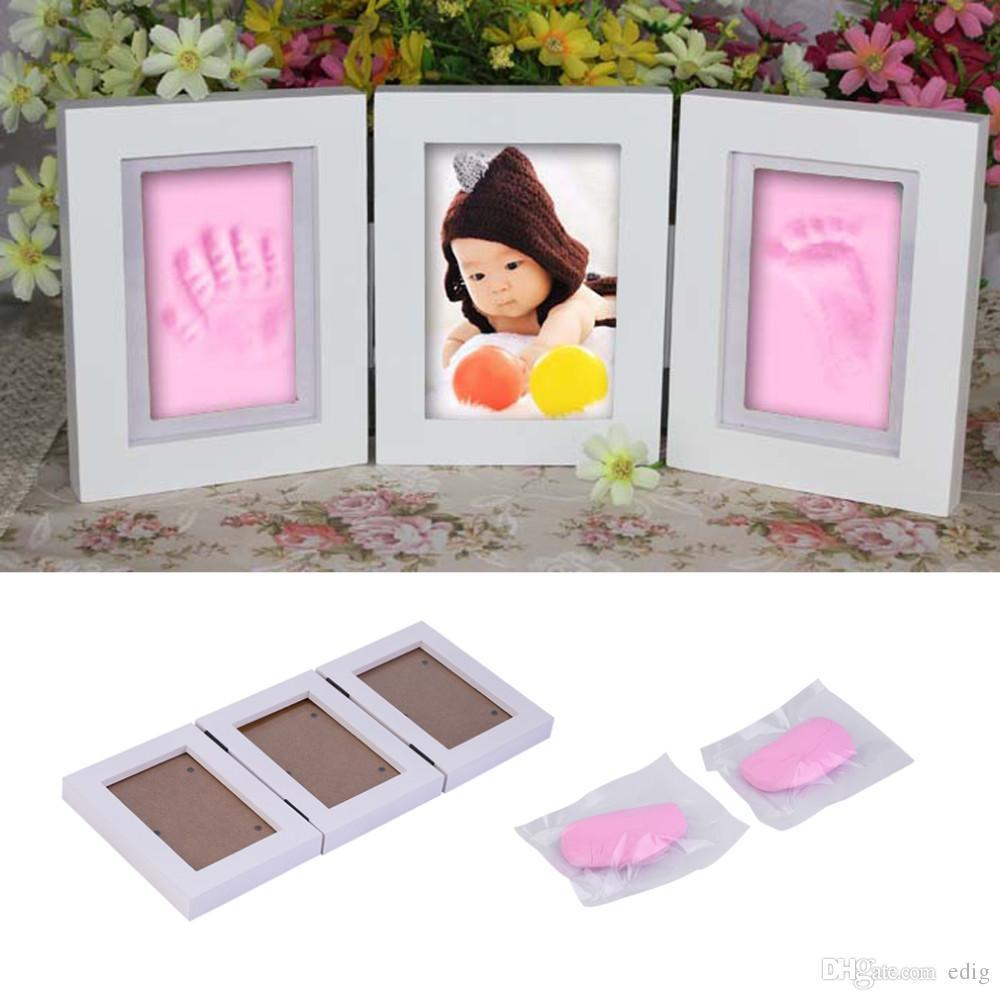 Cute Baby Photo Frame DIY Handabdruck oder Fußabdruck Soft Clay Safe Inkpad ungiftig einfach zu bedienen Freies Schiff c für Baby