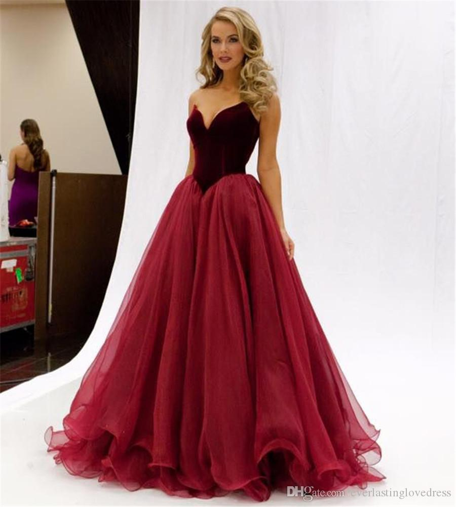 Strapless Elegant Velvet And Tulle Burgundy Prom Dresses V-waistline Sexy Evening Gown Zipper/Lace Up Pageant Party Dress