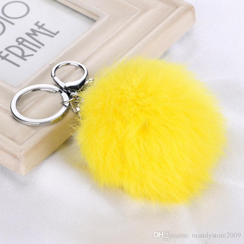 15 اللون الحقيقي الفراء أرنب الكرة pandent الحلي مع فضي سلسلة الكرة قطرها 8 سنتيمتر الأرنب الفراء لطيف حقيبة سلاسل مفتاح السيارة