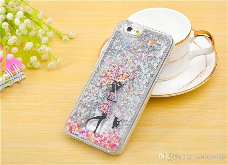 Fashionable Girl Quicksand Case For iPhone5 5S SE 6 6s 7 Plus Clear Liquid Glitter Bling Phone Cases Coque Shell fundas