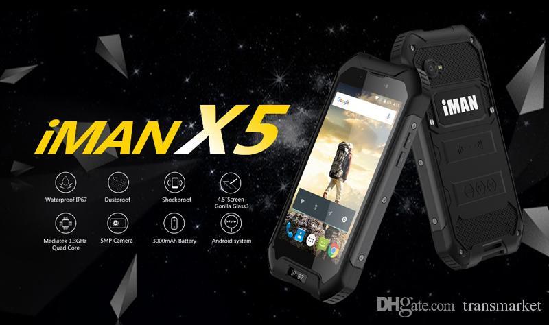 Original iMAN X5 Mobile Phone 4.5 inch MTK6580 Quad Core Android 5.1 1GB RAM 8GB ROM 5MP Waterproof IP67 GPS 3G WCDMA Smartphone