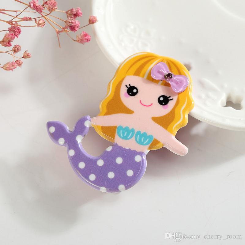 Pretty Hediyeler Mermaid Saç Klip Güzellik Prenses Bebek Barrette Sarışın Kız Toddler Firkete Yenilik Karikatür Kız Saç Tutam Sapları A7400