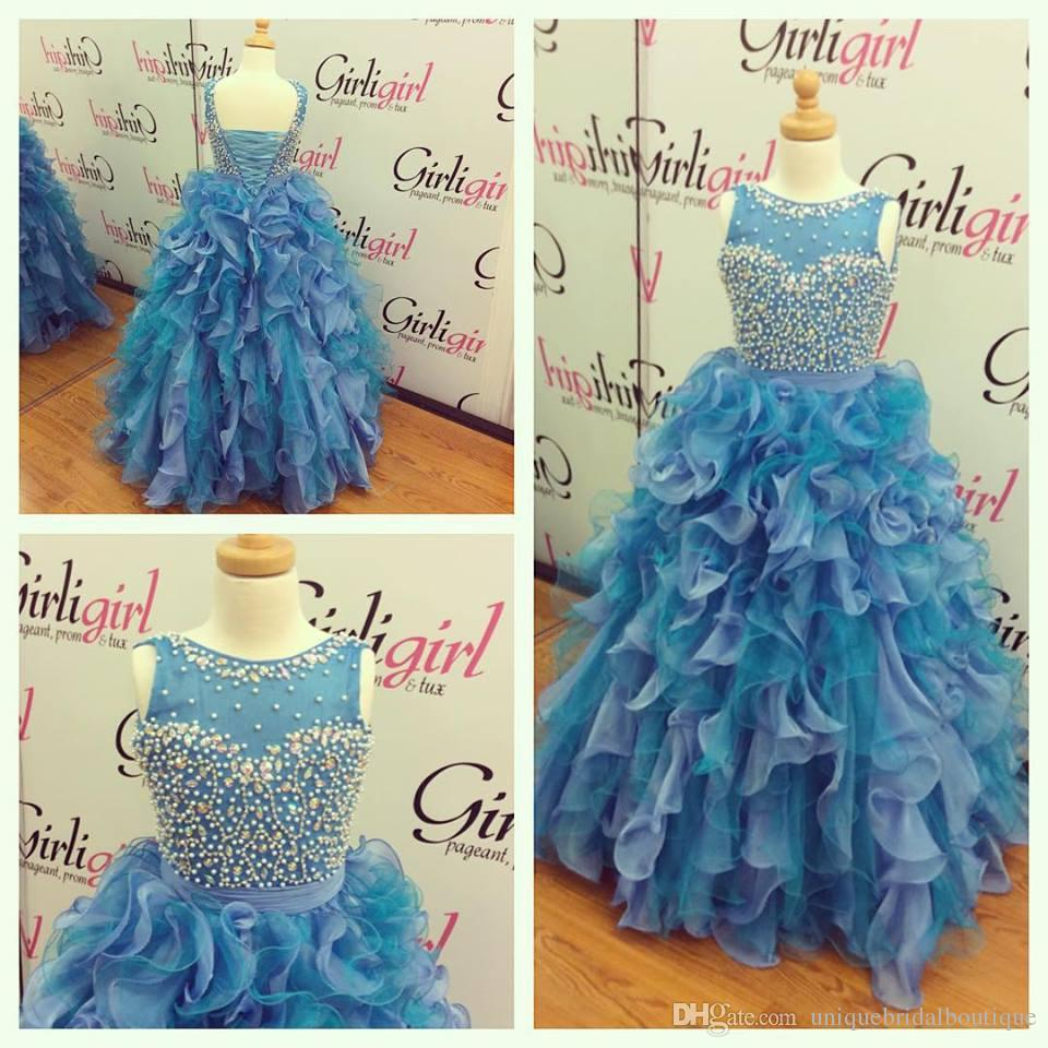 2016 Girls Pageant Dresses Lace Up Back with Ruffled Skirts and Crew Neck Real Picture Two Tones Organza Ballgown Pageant Dresses for Teens