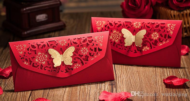 2019 Gold Stamping Butterfly Decor Red Packet Chinese ...