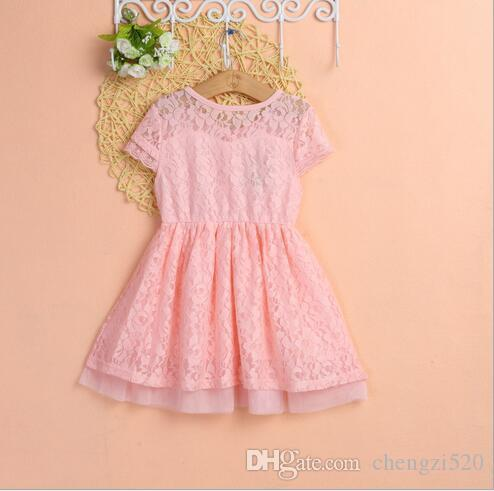 Girl's Dresses Baby Girl Dress Summer Girl Lace Short-sleeved Princess Dress Baby Clothes Blue Pink White Boat Neck YH265