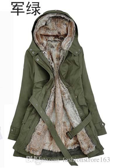 Pelz-Futter-Frauen der erstaunliche Pelz-Futter-Frauen beige Winter-warmer langer Mantel-Tropfen-Verschiffen