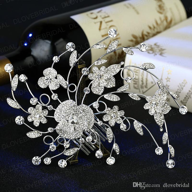 New Fairy Crystal Floral Bridal Hair Comb Delicate Romantic Rhinestone Wedding Prom Evening Party Headpieces Jewelry Accessory