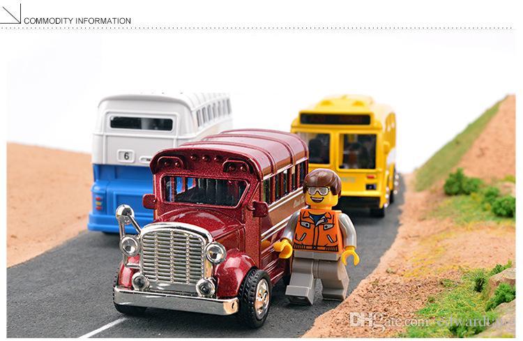 Juguete de aleación modelo de automóvil, Mini bus doble, Coche de época, Alta simulación con sonido, Luces de cabeza, Regalos de Navidad para niños, Coleccionismo, Decoración del hogar