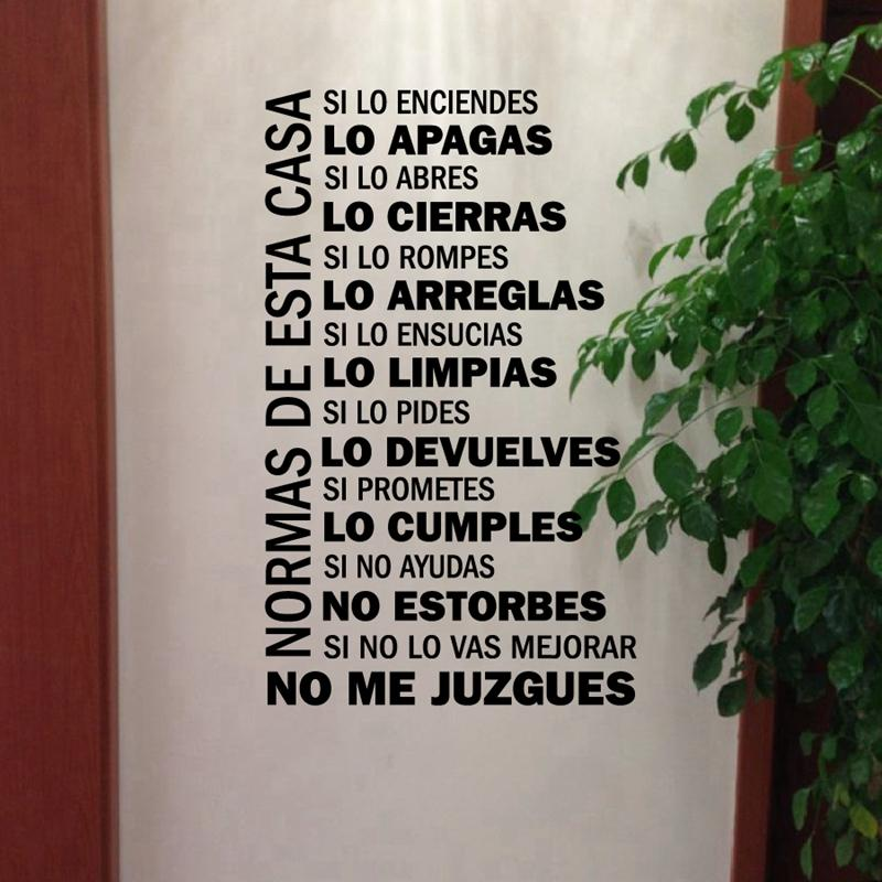 Spanish House Rules Vinyl Wall Decals Wall Sticker Home Decor