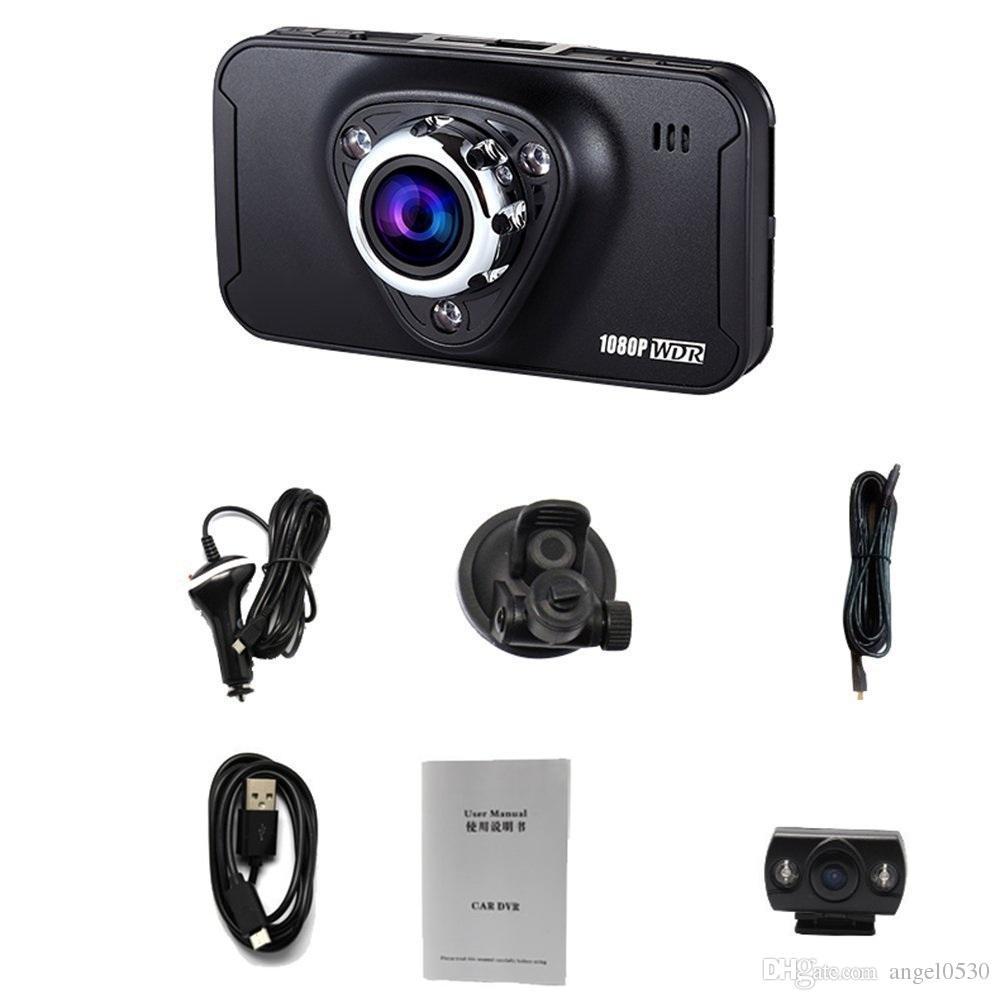Mais novo Carro DVR Novatek 96655 Chipset de 2.7 Polegada de 170 Graus de Visão Ampla Ângulo de Detecção de Movimento Dual Lens Gravador de Câmera Do Carro