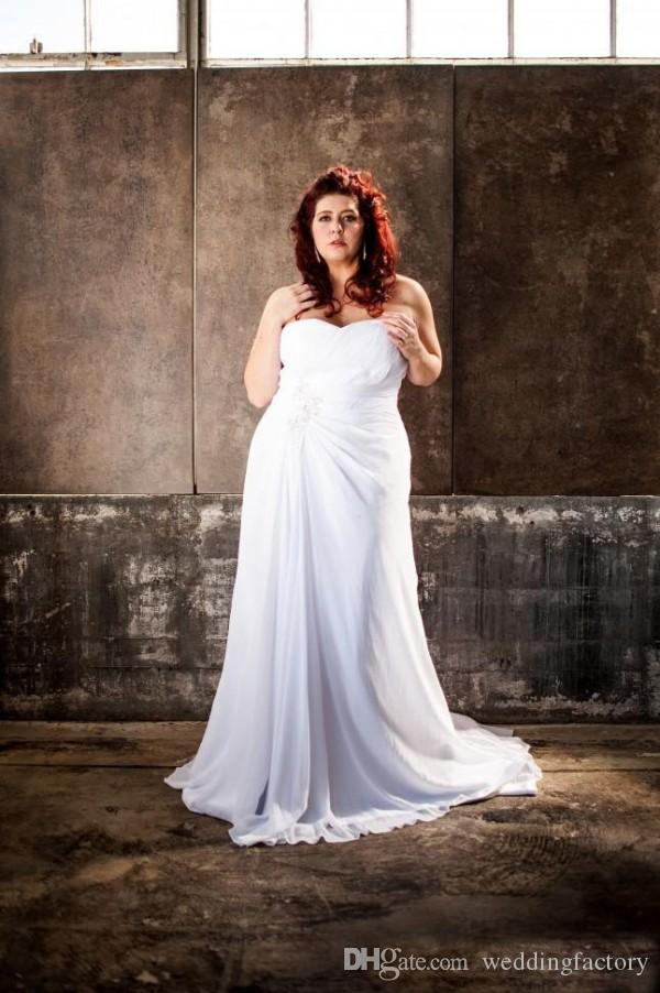 País Vestidos de noiva de tamanho grande Praia que flui Chiffon Querida Sem mangas Lace-up Back Corset Vestidos de noiva com Sexy High Split