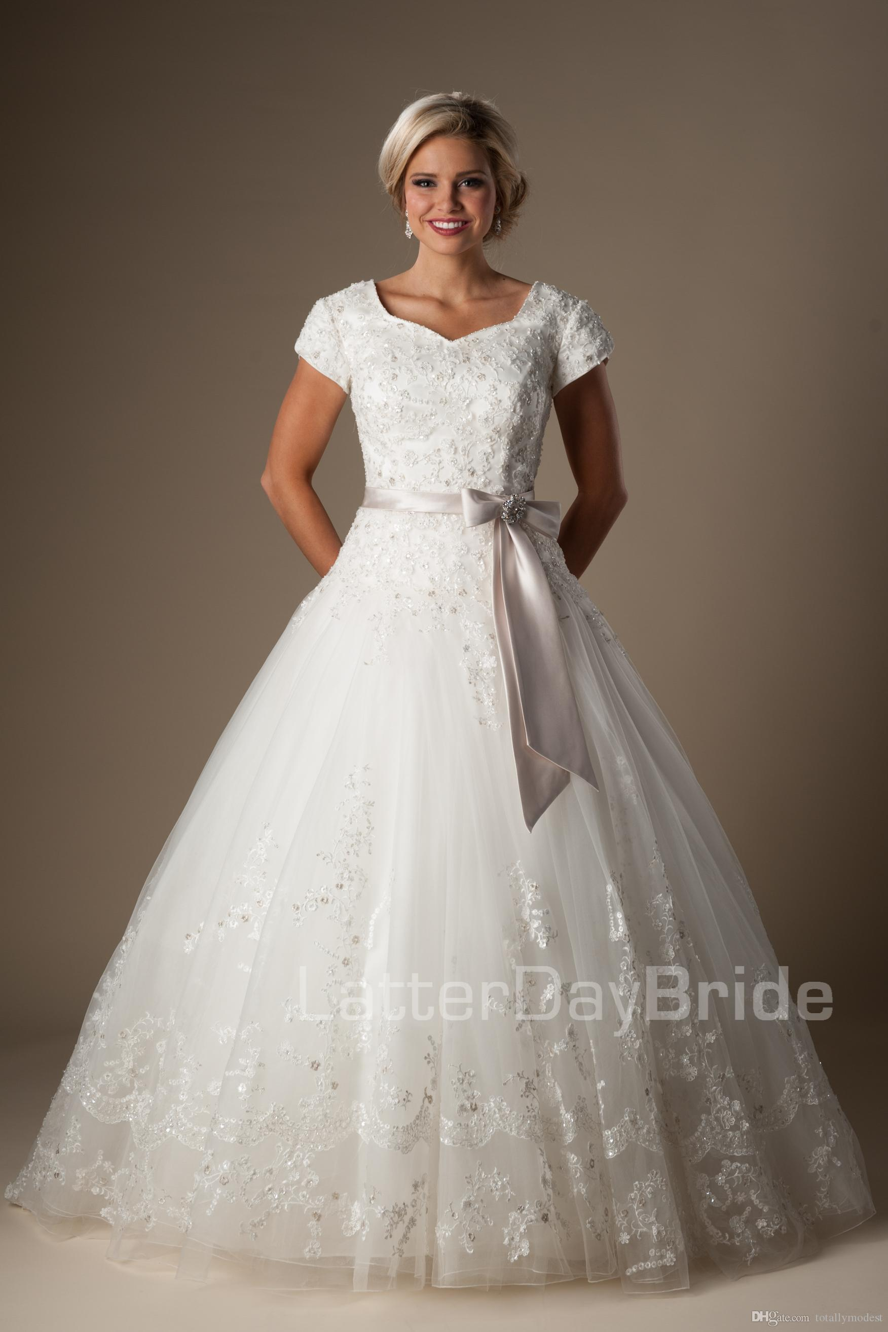 7df282cecc9c Beaded Lace Tulle Ball Gown Modest Wedding Dresses With Short Sleeves  Princess Temple Wedding Gowns Cap Sleeves Formal Bridal Gowns Sparkly  Dresses ...