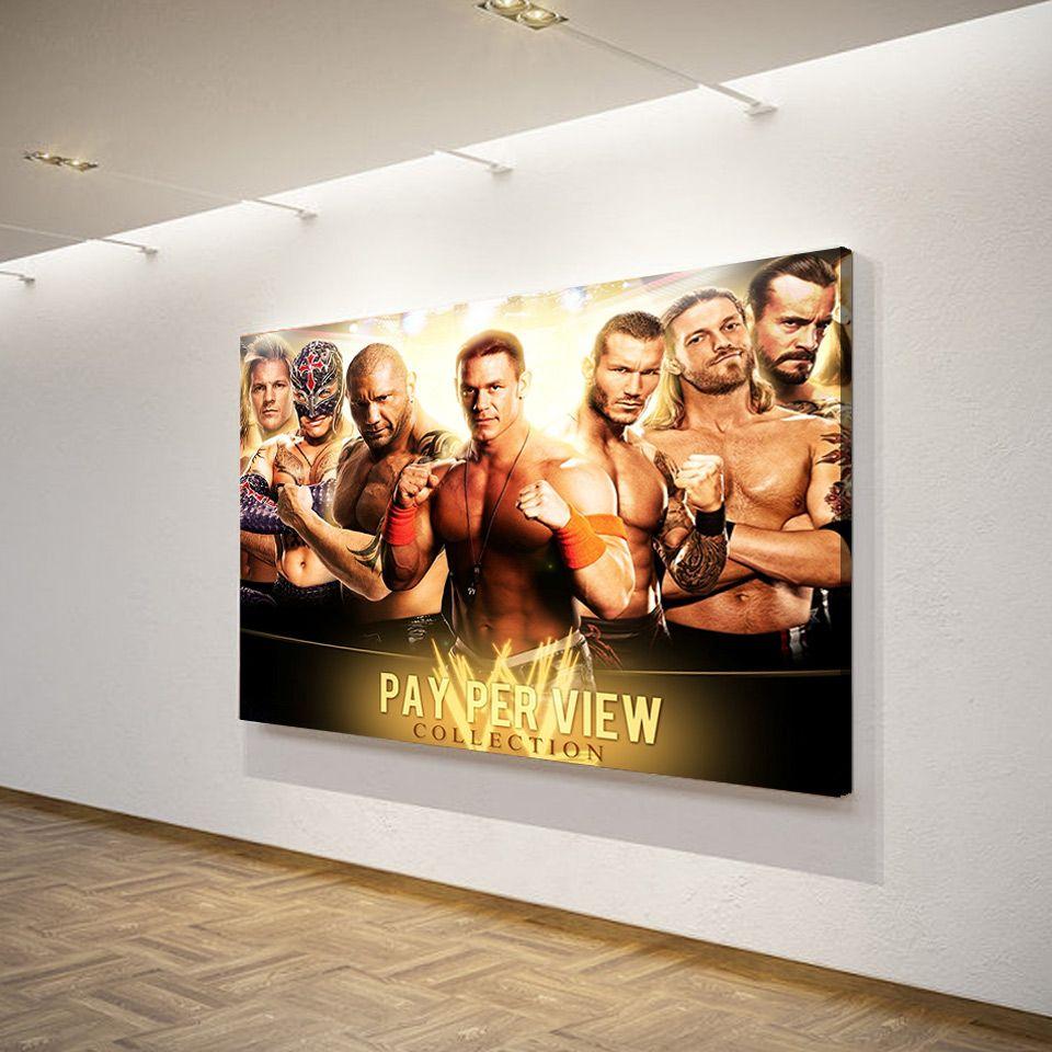 1 pezzo stampato in HD John Cena The Rock Poster di tela Telaio Hoom Decor Poster Pittura a olio Immagini a parete soggiorno