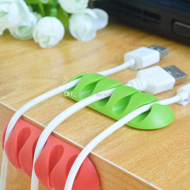 Enrouleur de câble en silicone souple Écouteur titulaire de câble Clips de stockage de fil Chargeur Dispositif de gestion du chargeur Chargeur Câble Organisateur de bureau 2016