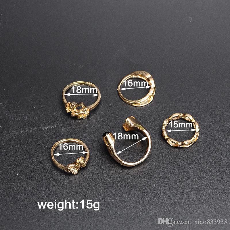 Üreticileri toptan moda 5 yünlü ortak altın kaplama yüzük alerji ücretsiz sıralama halkası