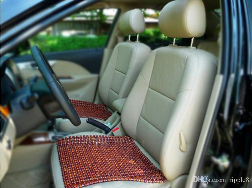 Brown Wooden Beads Car Seat Cushion Cool Side Massage Pad Refreshing Summer Heat Mat Supplies Four Seasons General Online With