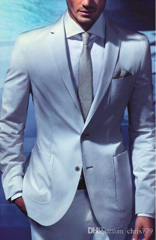 New Design Light Blue Groom Suits Tuxedos British Style Men Wedding ...