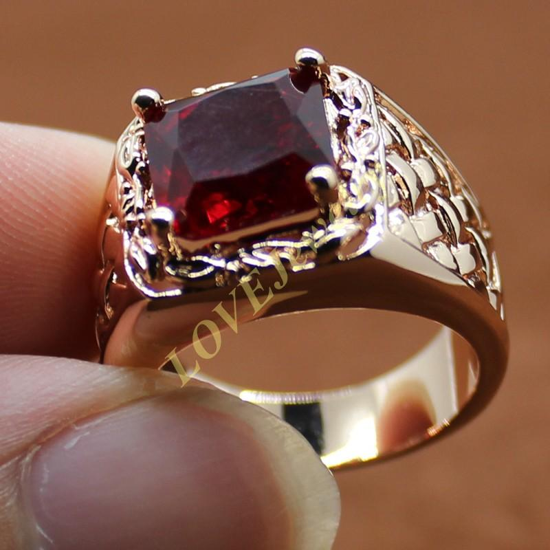 Mens 18K Rose Gold Filled Square Wine Red Ruby Stone Solitaire Woven Ring For Men Size 8 9 10