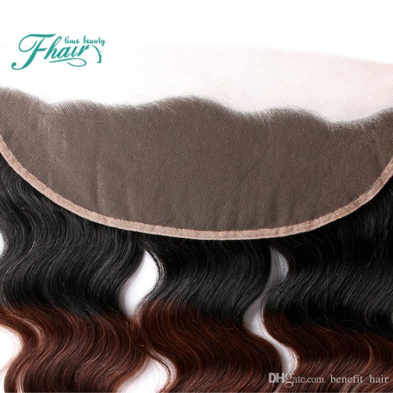 8A Peruanisches Haar Ohr Zu Ohr Drei Ton Farbe 1B 4 27 Ombre Volle Spitze Frontal Schließung Körperwelle Menschenhaar Gebleichte knoten
