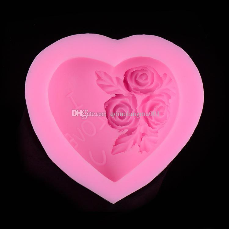 "DIY rose and heart shaped sugar fondant cake mold Handmade baking mold Valentine's day ""I love you "" cake maker"