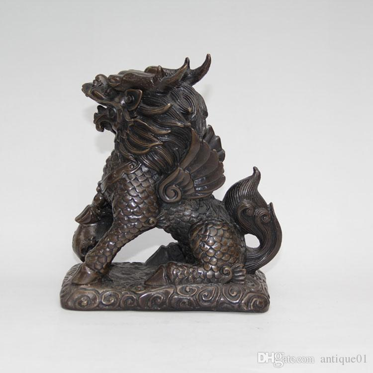 Pure Bronze Kilin Qilin unicorn Beast Animal Bat wing ball Pair Statue home decoration